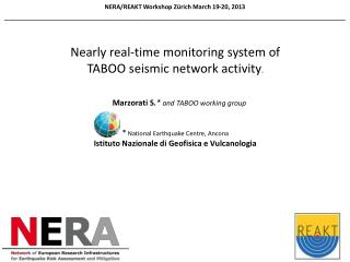 NERA/REAKT Workshop Zürich March 19-20,  2013