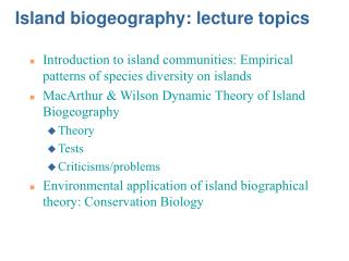 Island biogeography: lecture topics