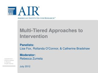 Multi-Tiered Approaches to Intervention