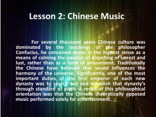 Lesson 2: Chinese Music