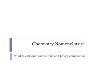 Chemistry Nomenclature