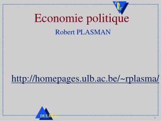 Economie politique Robert PLASMAN