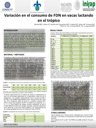 Variación en el consumo de FDN en vacas lactando en el trópico