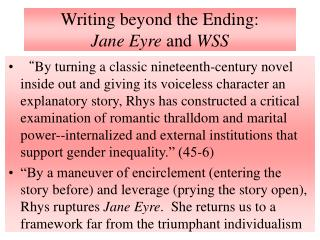 Writing beyond the Ending: Jane Eyre and WSS