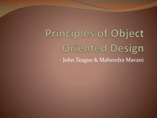 Principles of Object Oriented Design