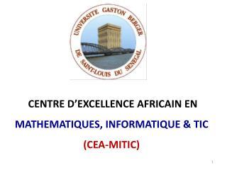 CENTRE D ' EXCELLENCE AFRICAIN EN  MATHEMATIQUES, INFORMATIQUE & TIC (CEA-MITIC)
