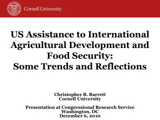 US Assistance to International Agricultural Development and Food Security: