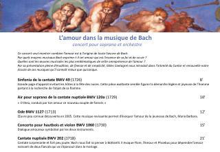 L'amour dans  la  musique  de Bach concert pour soprano et  orchestre