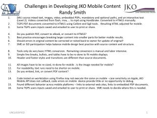 Challenges in Developing JKO Mobile Content Randy Smith