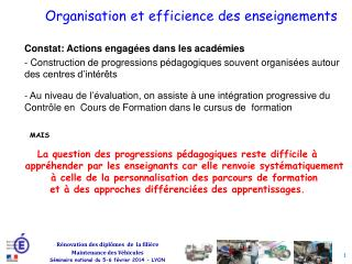 Organisation et efficience des enseignements