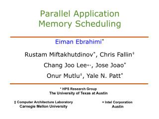 Parallel Application  Memory Scheduling