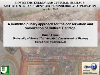 A multidisciplinary approach for the conservation and valorization of Cultural  Heritage