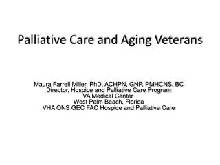 Palliative Care  and Aging Veterans