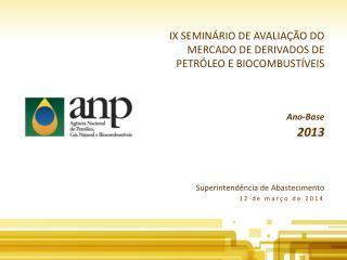 IX SEMINÁRIO DE AVALIAÇÃO DO MERCADO DE DERIVADOS DE PETRÓLEO E BIOCOMBUSTÍVEIS Ano-Base 2013
