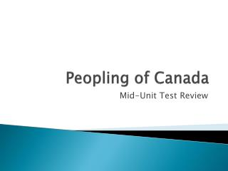 Peopling of Canada
