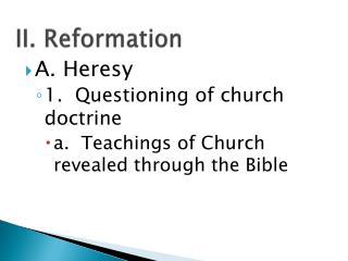 II. Reformation