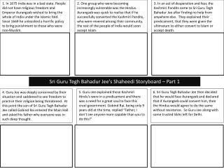 Sri Guru  Tegh Bahadur Jee's Shaheedi  Storyboard – Part 1