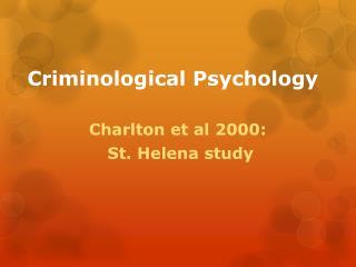 Criminological Psychology