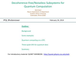 Decoherence -free/Noiseless Subsystems for  Quantum Computation