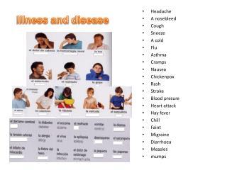 Headache A nosebleed Cough Sneeze A cold Flu Asthma Cramps Nausea Chickenpox Rash Stroke