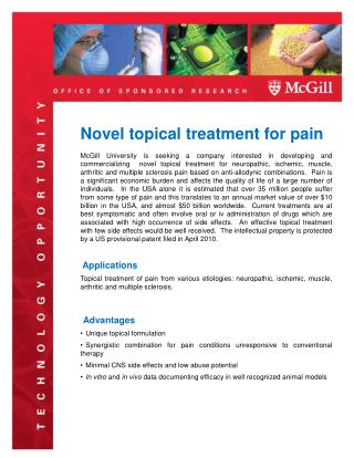 Novel topical treatment for pain
