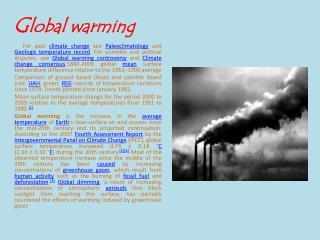 G lobal warming