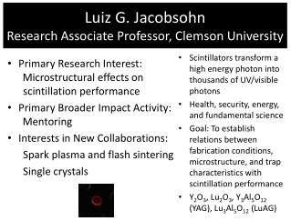 Luiz  G.  Jacobsohn Research Associate Professor, Clemson University