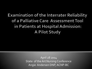 April 28 2014 State  of the Art Nursing Conference Angie  Andersen DNP, ACNP-BC