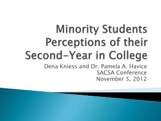 Minority Students Perceptions of their Second-Year in College