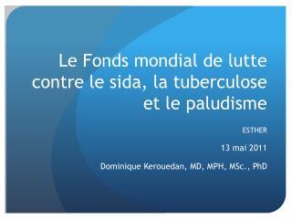 Le Fonds mondial de lutte contre le sida, la tuberculose et le paludisme