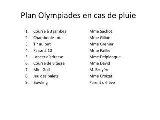 Plan Olympiades en cas de pluie
