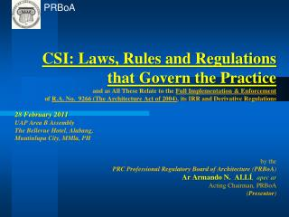 Laws, rules and regulations