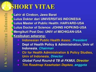 SHORT VITAE