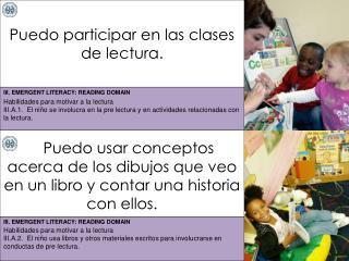 Puedo participar en las clases de lectura.