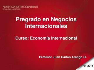 Pregrado en Negocios Internacionales Curso:  Economía Internacional