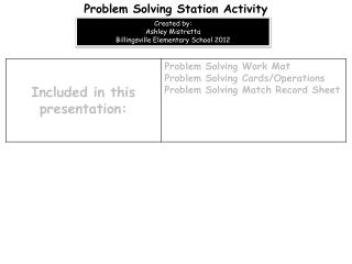 Problem Solving Station Activity