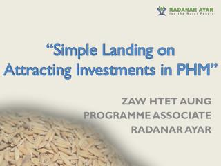 �Simple Landing on Attracting Investments in PHM�