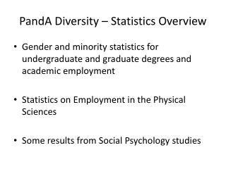 PandA  Diversity – Statistics Overview