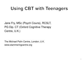 Using CBT with Teenagers