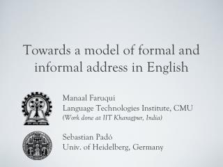 Towards a model of formal and informal address in English