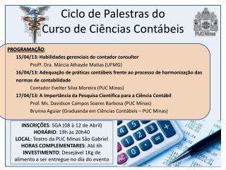 Ciclo de Palestras do  Curso de Ciências Contábeis