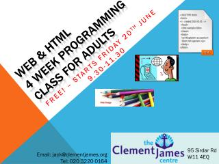 Web & HTML  4 Week PROGRAMMING class for adults