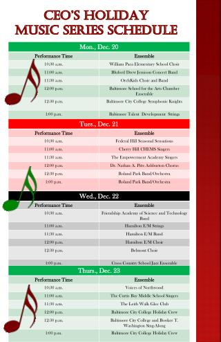 CEO's Holiday  Music Series Schedule