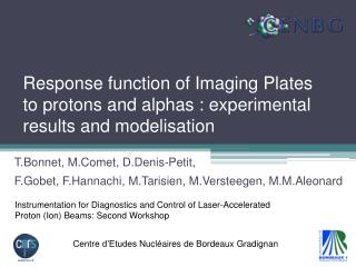 Response function of Imaging Plates to protons and alphas : experimental results and  modelisation