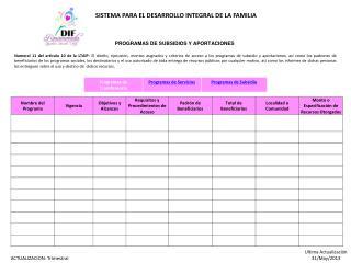 PROGRAMAS DE SUBSIDIOS Y APORTACIONES