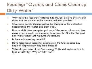 "Reading: ""Oysters and Clams Clean up Dirty Water"""