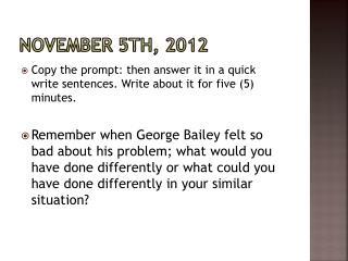 November 5th,  2012