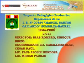 Proyecto Pedagógico Productivo Experiencia  d e La