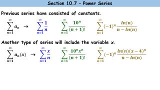 Previous series have consisted of constants.