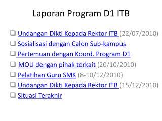 Laporan Program D1 ITB